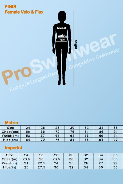 Finis Velo & Flux Women's Size Guide
