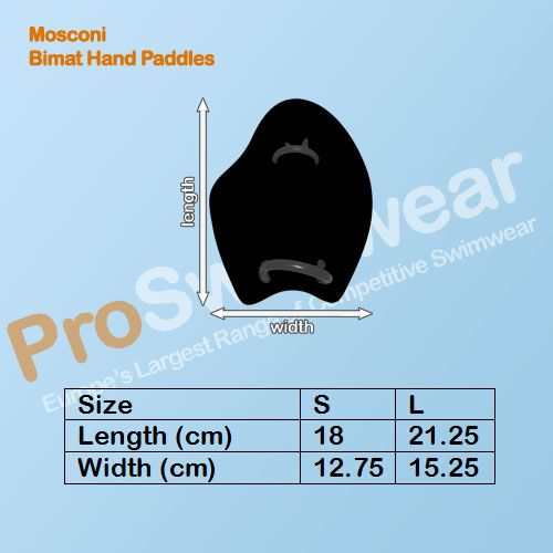 Mosconi Bimat Hand Paddles Size Guide