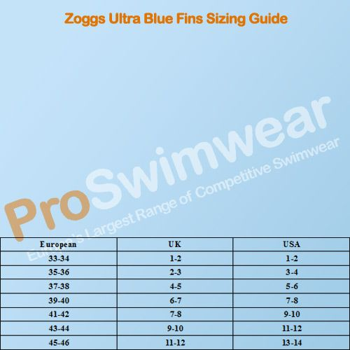 Zoggs Ultra Blue Fins Size Guide