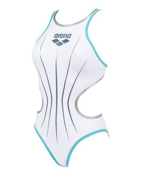 Arena Girl's One Electric Swimsuit - White / Mint / Silver