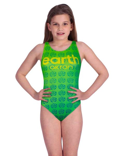 Akron Girl's Element Earth Swimsuit - Green