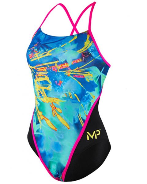 MP Michael Phelps Girl's Fusion Racer Back Swimsuit - Multi / Black