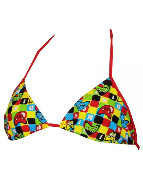 Diana Womens Twin Tri Bikini Top - Multicoloured / Red