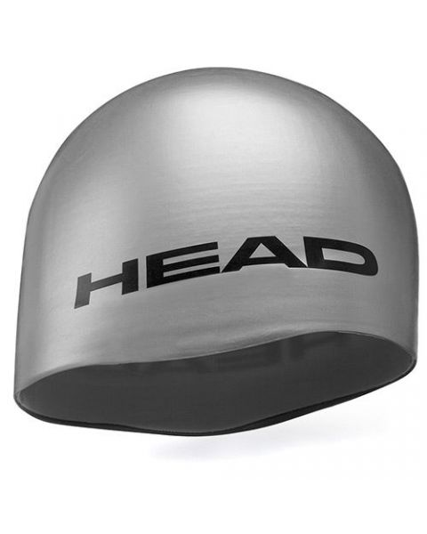 Head Silicone Moulded Swimming Cap - Silver