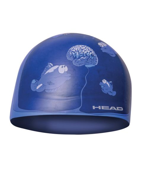 Head Silicone Sketch Swim Cap - Blue Brain