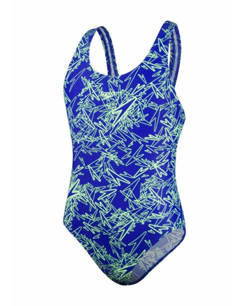 Speedo Girl's Boom Allover Splashback Swimsuit- Brilliant Blue / Bright Zest