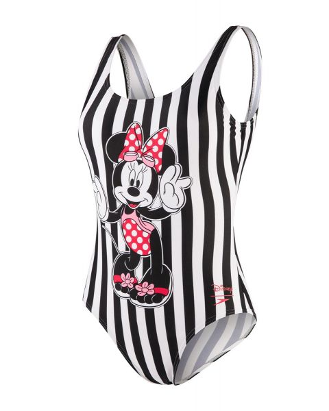 Speedo Niñas Minnie Placement U Back Traje de Baño - Blanco /  Blanco /  Rojo /  Rosa