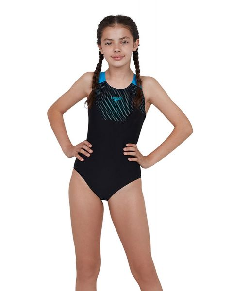 Speedo Girl's Tech Placement Muscleback Swimsuit  - Black / Pool