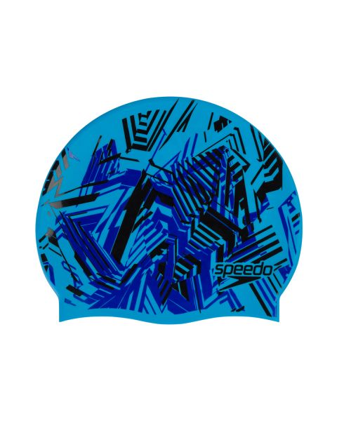Speedo Junior Slogan Cap - Black / Beautiful Blue