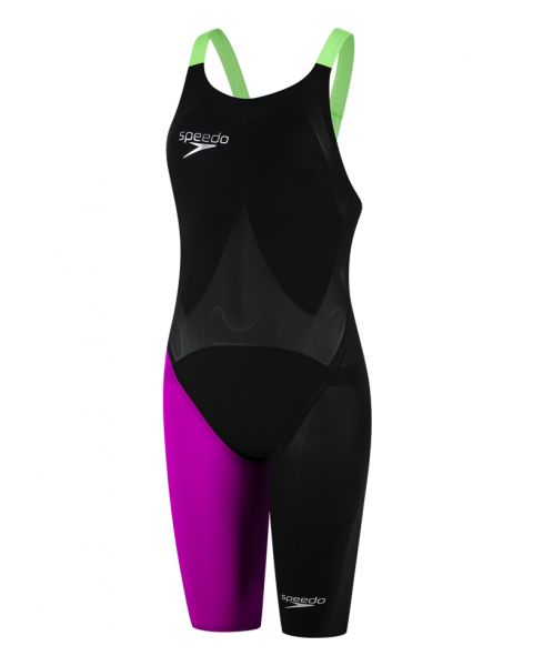 Speedo LZR Elite 2 Openback Kneeskin - Black / Electic Purple / Green Fizz