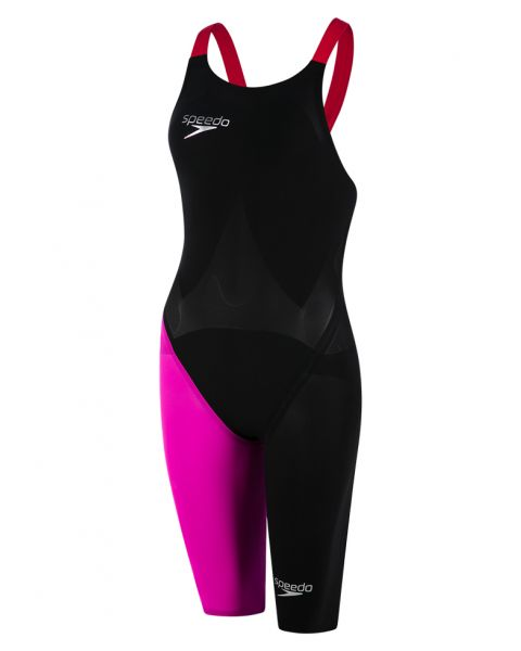 Speedo LZR Elite 2 Dos Nu Combinaison De Natation - Noir / Rose / Rouge