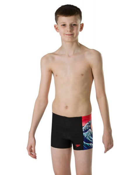 Speedo Boy's OrigamiWave Allover Panel Aquashort- Black/ Lava Red