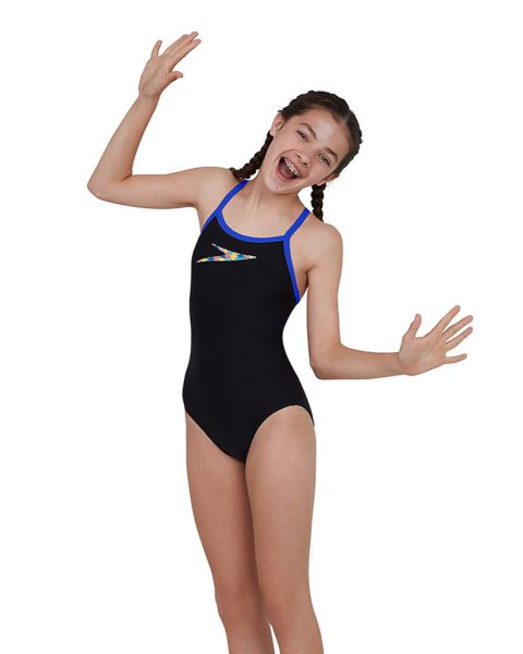 Speedo Girl's Boom Placement Thinstrap Muscleback Swimsuit - Black / Beautiful Blue