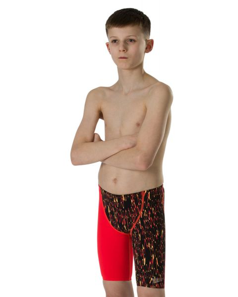 Speedo Boy's Fastskin Endurance+ High Waist Jammer- Black / Lava Red / Papaya Punch