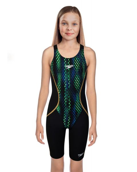 Speedo Girl's Fastskin Junior LZR Racer X Kneesuit - Black / Greenglow