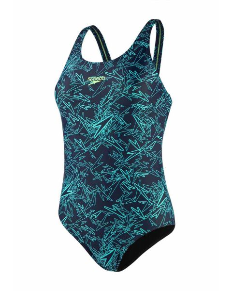 Speedo Girl's Boom Allover Muscleback Swimsuit- Navy/ Aquasplash/ Bright Zest