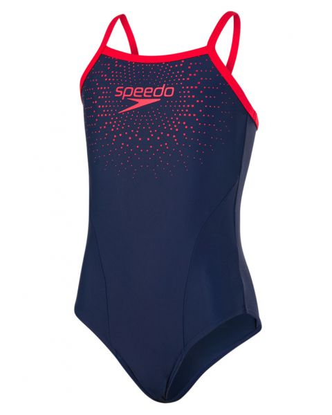 Speedo Gala Logo Thinstrap Muscleback Kids' Swimsuit - Navy / Fed Red