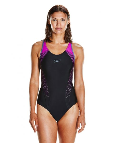 Speedo Fit laneback Womens Swimsuit - Black / Grey