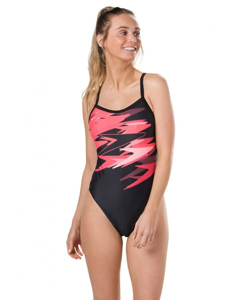 Speedo Women's Boom Placement Thinstrap Swimsuit - Black / Psycho Red / Flash