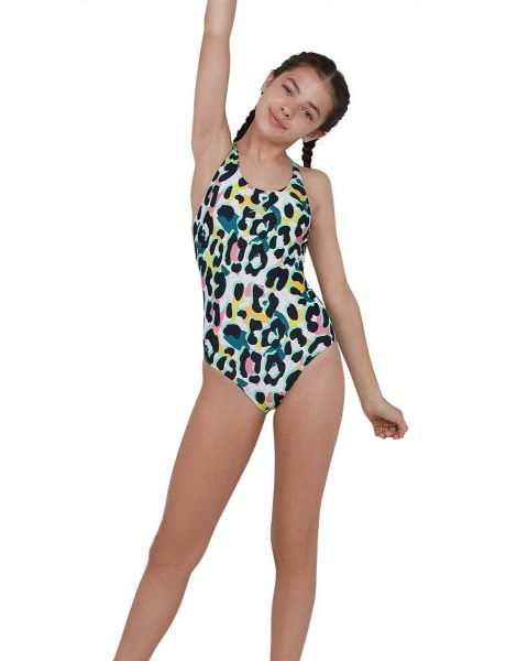 Speedo Girl's JungleSpeak Allover Tieback Swimsuit