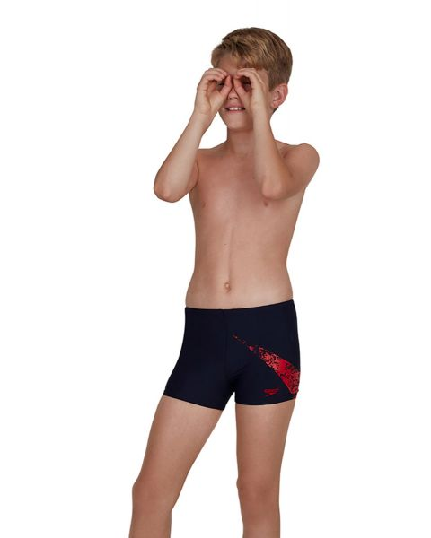 Speedo Boy's Boomstar Placement Aquashort - True Navy / Fed Red