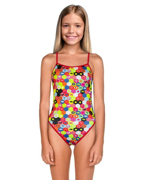 Turbo Girl's Hexa Flour Swimsuit - Multicoloured