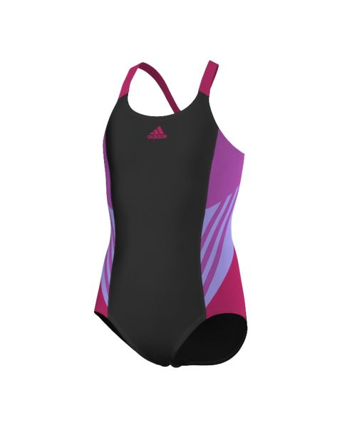 Adidas Girl's Infintex Swimsuit - Black / Flash Pink