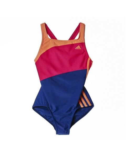 Adidas Ragazze Three Stripe Colour Block Costume da nuoto - Viola