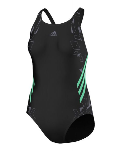 Adidas Girls Tech Range Motion Swimsuit - Black / Green Glow