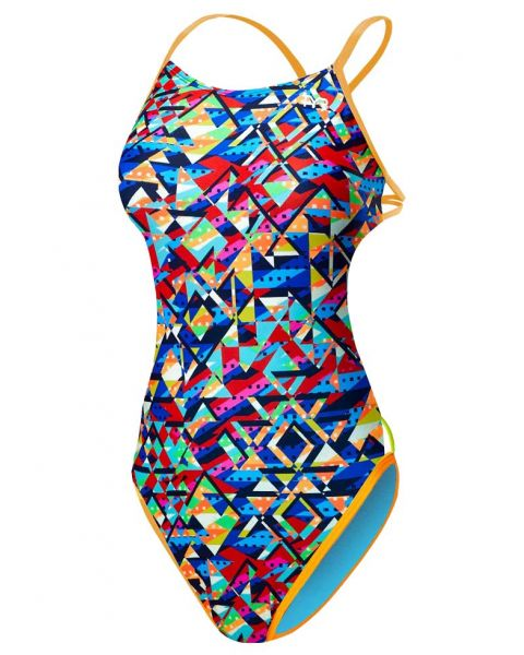 TYR Women's Mosaic Mojave Cut Out Fit Swimsuit - Orange / Blue