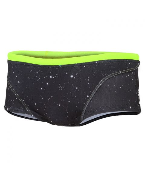 Zone3 Men's Cosmic Brief Shorts - Grey / Fluro Yellow
