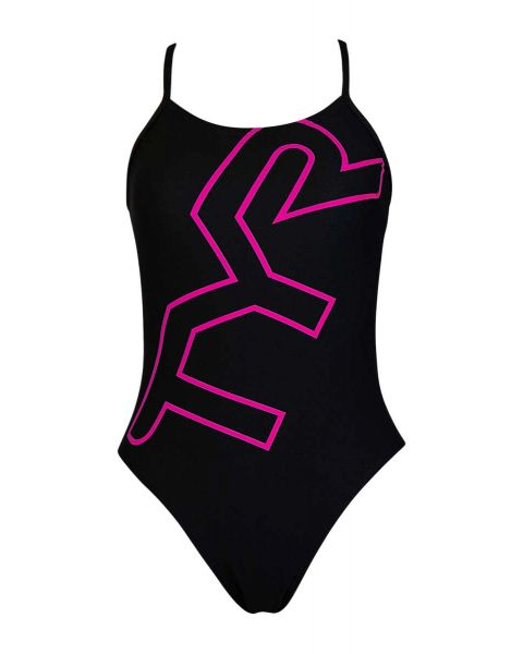 TYR Girl's Big Logo Cut Out Fit Training Swimsuit - Black / Pink