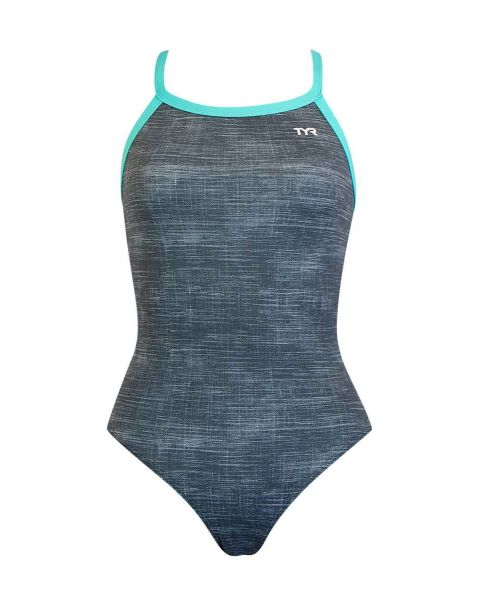 TYR Women's Sandblasted Diamond Fit Swimsuit - Grey / Teal