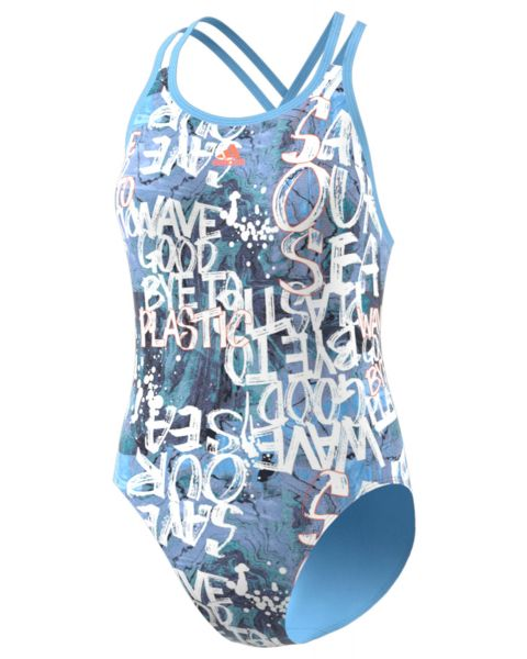 Adidas Girls Parley Swimsuit - Blue / Semi Coral