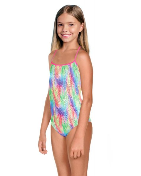 Maru Girl's Tutti Fruitti Ecotech Sparkle Tie Back Swimsuit  - Multi