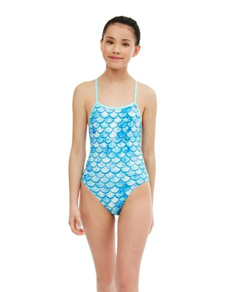 Maru Girl's Shimmer Ecotech Sparkle Fly Back Swimsuit -  Aqua