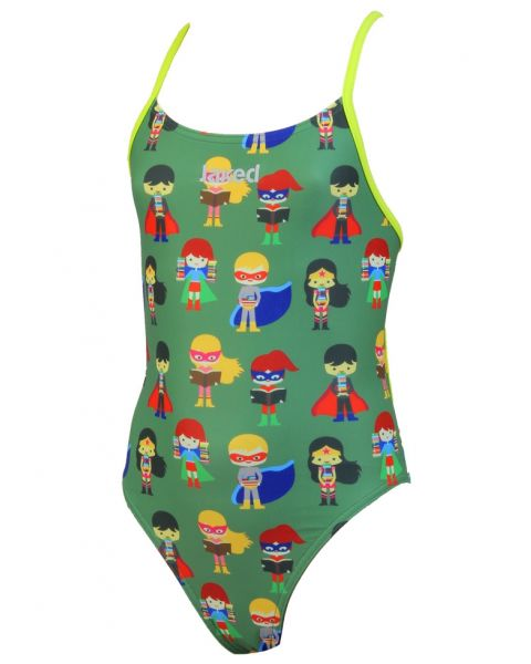 Jaked Girls Superheroes Mood One-Piece Swimsuit - Military Green