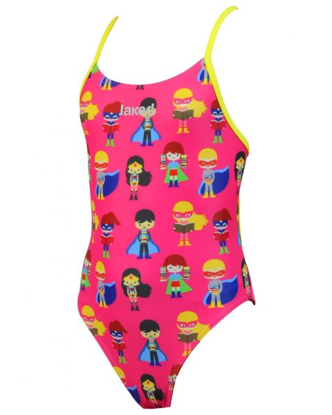 Jaked Kids Superheroes Mood One-Piece Swimsuit - Pink