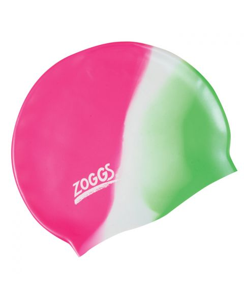 Zoggs Junior Multi Colour Silicone Swim Cap Pink/White/Green