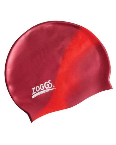 Zoggs Junior Multi Colour Silicone Swim Cap Burgundy/Red