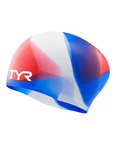 TYR Junior Tie Dye Long Haired Bonnet De Natation En Silicone - Rouge