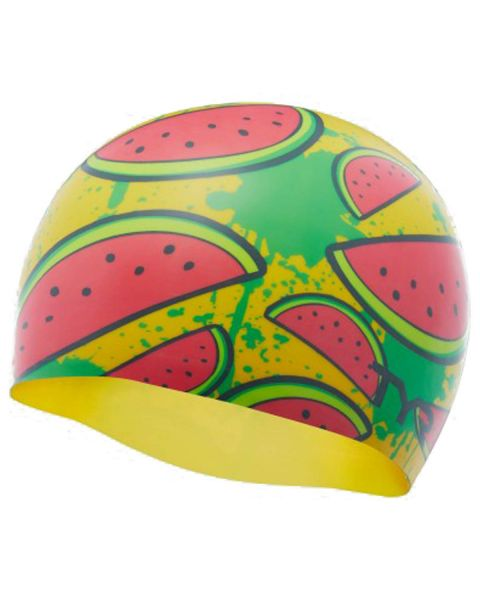 TYR Watermelon Swim Cap - Yellow / Pink
