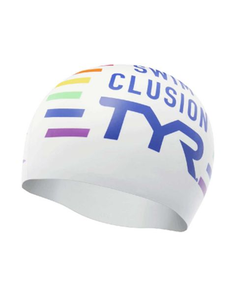TYR Clusion Swim Cap - White / Multi