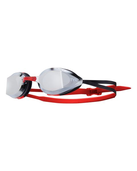 TYR Edge-X Racing Mirrored Goggles - Silver/Red