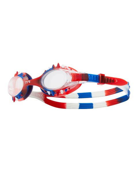 TYR Swimple Spikes Tie Dye Kids Goggles - Clear/Red/Blue