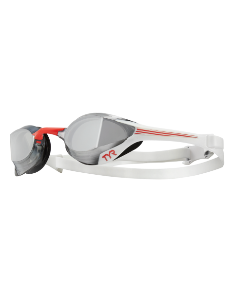TYR Tracer X Elite Mirrored Goggles - Silver/ Red