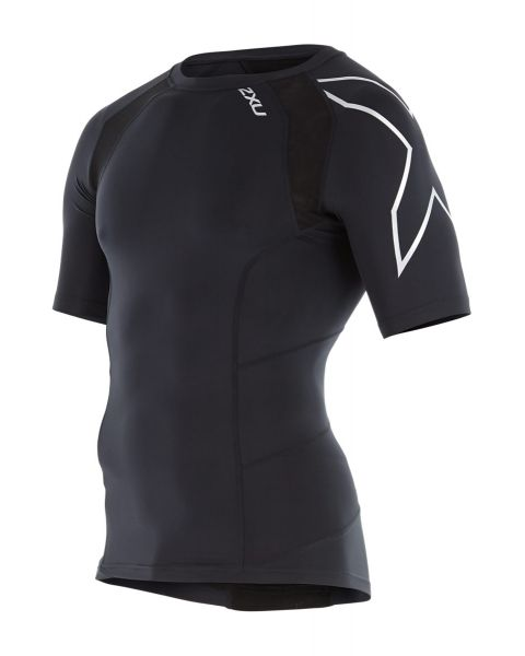 2XU Men's Compression Short Sleeve Top - Black/Silver