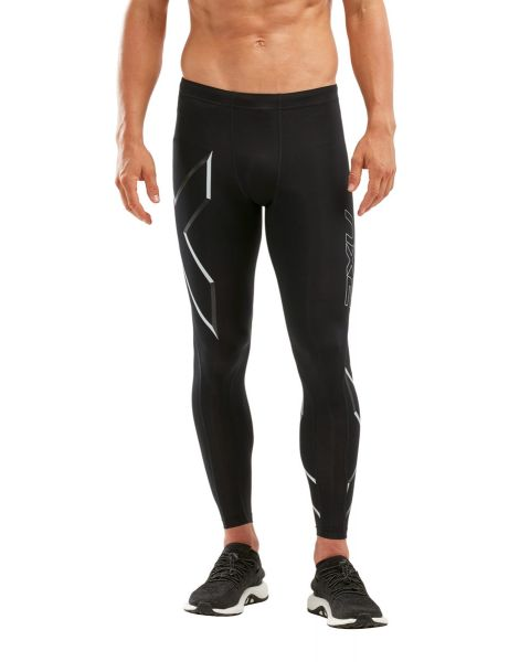 2XU Men's Compression Tights - Black/ Duo Tone Silver