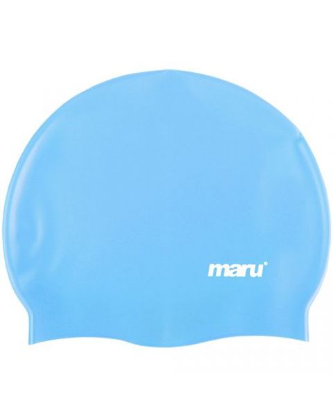 Maru Solid SIlicone Swim Caps Blue A0836