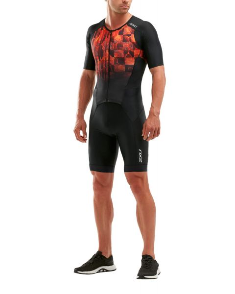 2XU Men's Perform Full Zip Sleeved Trisuit - Black/Flame Ombre